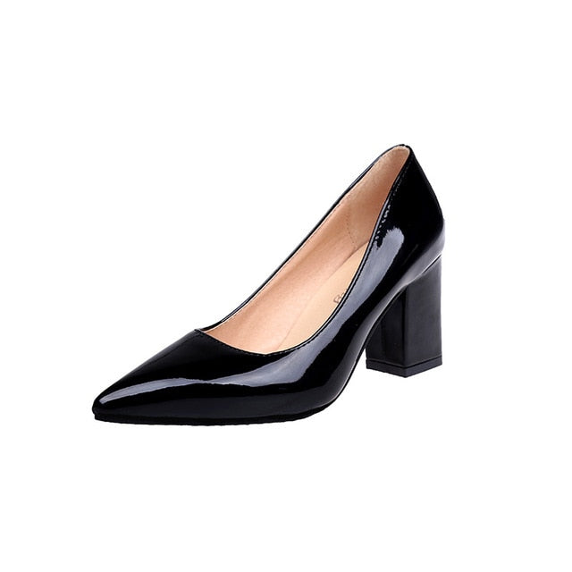 New Women Pumps Black High heels 7.5cm Lady Patent leather Thick with Autumn Pointed Single Shoes Female Sandals - Products & Products Store