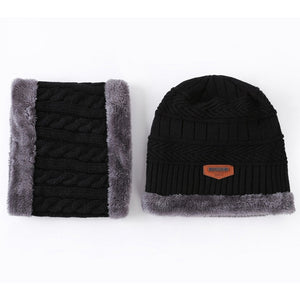 Women Men Unisex Knitted Hat Scarf Caps Neck Warmer Winter Hats For Men Women Skullies Beanies Warm Fleece Cap 6 Colors - Products & Products Store