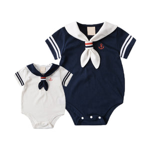 Summer Baby Rompers Cotton Baby Girl Clothes White Navy Style with Tie Baby Boy Clothes Newborn kids Clothing Infant Jumpsuits - Products & Products Store