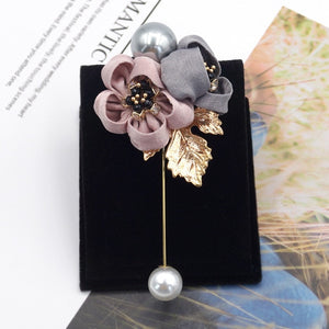 i-Remiel Ladies Cloth Art Pearl Fabric Flower Brooch Pin Cardigan Shirt Shawl Pin Professional Coat Badge Jewelry Accessories - Products & Products Store