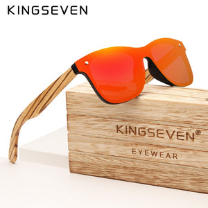 KINGSEVEN 2019 Handmade Brand Design Zebra Polarized Sunglasses Men/Women Mirror Lens Original Wood Eyewear Oculos de sol - Products & Products Store