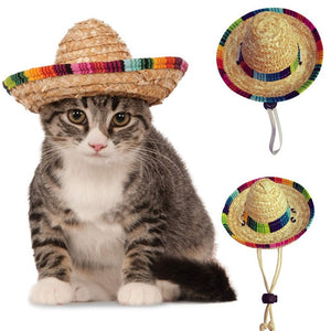 7698e38f8 Mini Pet Dogs Straw Hat Sombrero Cat Sun Hat Beach Party Straw Hats Dogs  Hawaii Style Hat for Dogs Funny Accessories