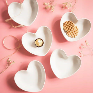 4PCS Cute Heart Small Saucer Shape Mini Plate Ceramics Cartoon  Dish Creative Snack Plate Salad Dinner Tray Sauce Dish 4pcs/ - Products & Products Store