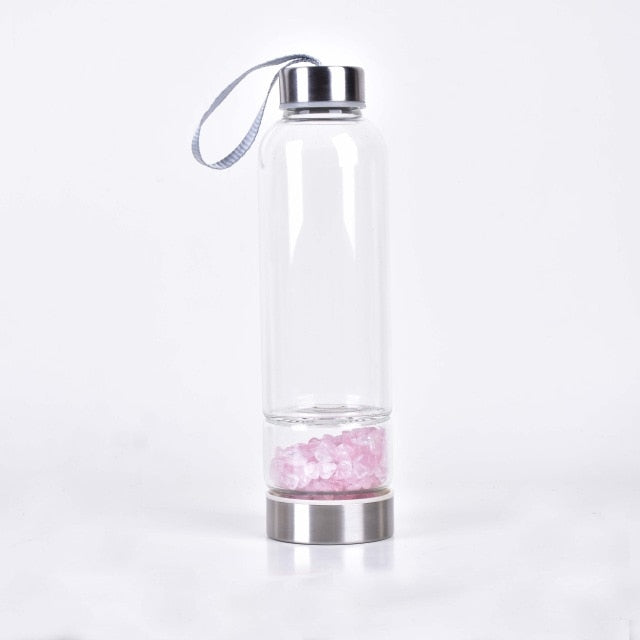 Natural Quartz Irregularity Rose Crystal Gravel Bottle Glass Water Gravel Stone Cup - Products & Products Store
