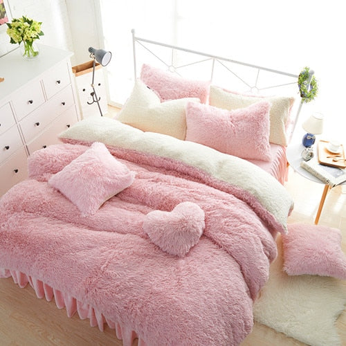 White Pink Fleece Bedding set King Queen Twin size Girls Bed set Warm Soft Bed sheet Duvet cover set Bed skirt parure de lit - Products & Products Store