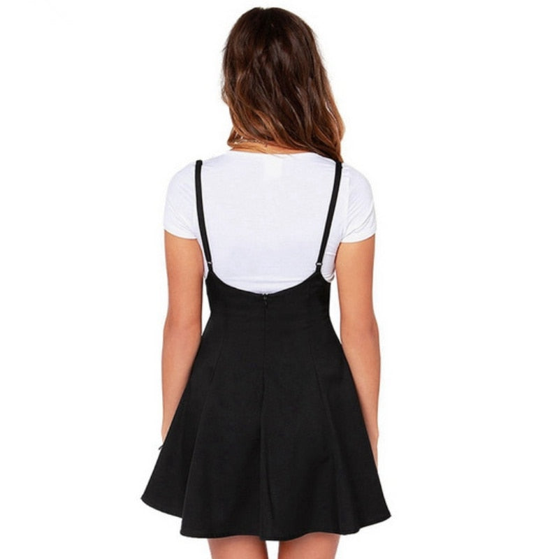 Women Black Skirt with Shoulder Straps Pleated Skirt Suspender Skirts High Waist Mini School Skirt - Products & Products Store