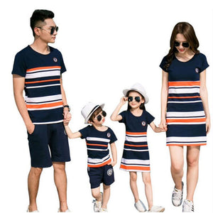 Family Matching Outfits 2019 Summer Fashion Striped T-shirt Outfits Mother And Daughter Dresses Father Son Baby Boy Girl Clothes - Products & Products Store
