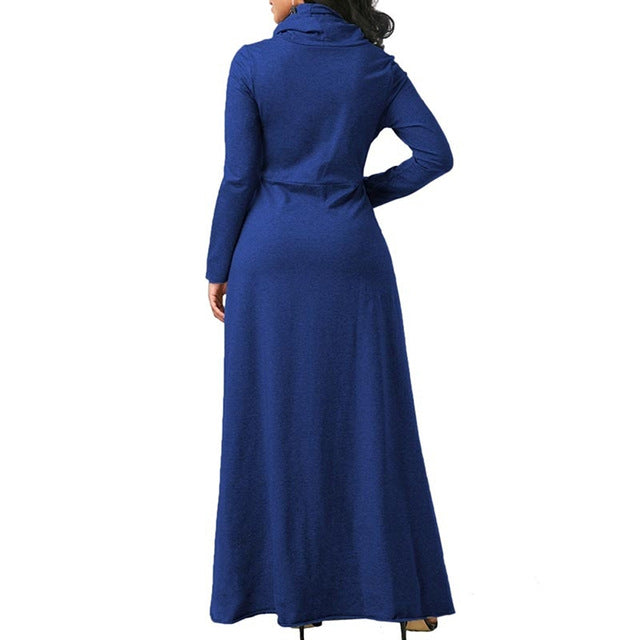 Women Long Sleeve Dress Large Size Elegant Long Maxi Dress Autumn Warm Turtleneck Woman Clothing With Pocket Plus Size Bigsweety - Products & Products Store