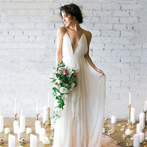 LORIE Simple Boho Wedding Dress Beach 2019 Robe de mariee Plunging Sexy Bridal Dress Chiffon Wedding Dresses Spaghetti Straps - Products & Products Store