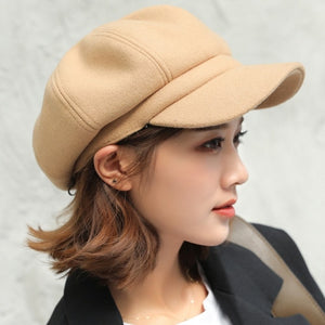 Hats for Women Solid Plain Octagonal Newsboy Cap Men Ladies Casual Wool - Products & Products Store