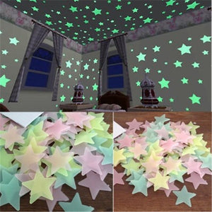 50pcs 3D Stars Glow In The Dark Wall Stickers Luminous Fluorescent Wall Stickers For Kids Baby Room Bedroom Ceiling Home Decor - Products & Products Store