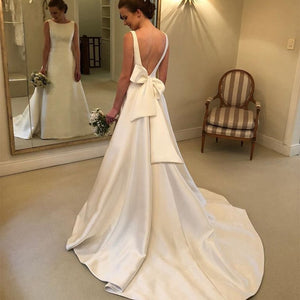 Cheapest Boho A-line Jewel Backless Wedding Dress Chapel Train Satin Bridal Dress Bow On Back Country Wedding Bride Dresses - Products & Products Store