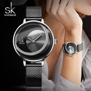 Shengke Crystal Watch Women Dress Ladies Quartz Watch Reloj Mujer 2019 SK Top Brand Luxury Stainless Steel Watch zegarek damski - Products & Products Store