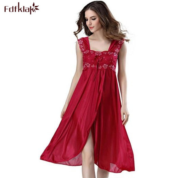 Summer Dress 2019 Lace Sleeveless Lingerie Sexy Women Nightwear Silk Night Gowns Satin Nightgown Sleepwear Red/Black Pink Q134 - Products & Products Store