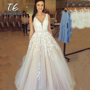 V Neck Wedding Dresses Light Champagne Floor Length Applique Open Back Sleeveless A Line Backless Bridal Dress Vestido De Noiva - Products & Products Store