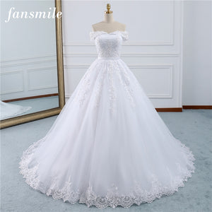 Fansmile 2019 Lace Gowns Wedding Dress Robe Princesse Mariage Plus Size Long Train Tulle Mariage Bridal Wedding Turkey FSM-433T - Products & Products Store