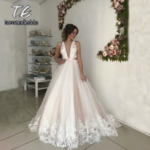 V Neck Tulle Wedding Dresses A Line Open Cross Back Applique Floor Length Sweep Train Sleeveless Bridal Dress Vestido De Noiva - Products & Products Store