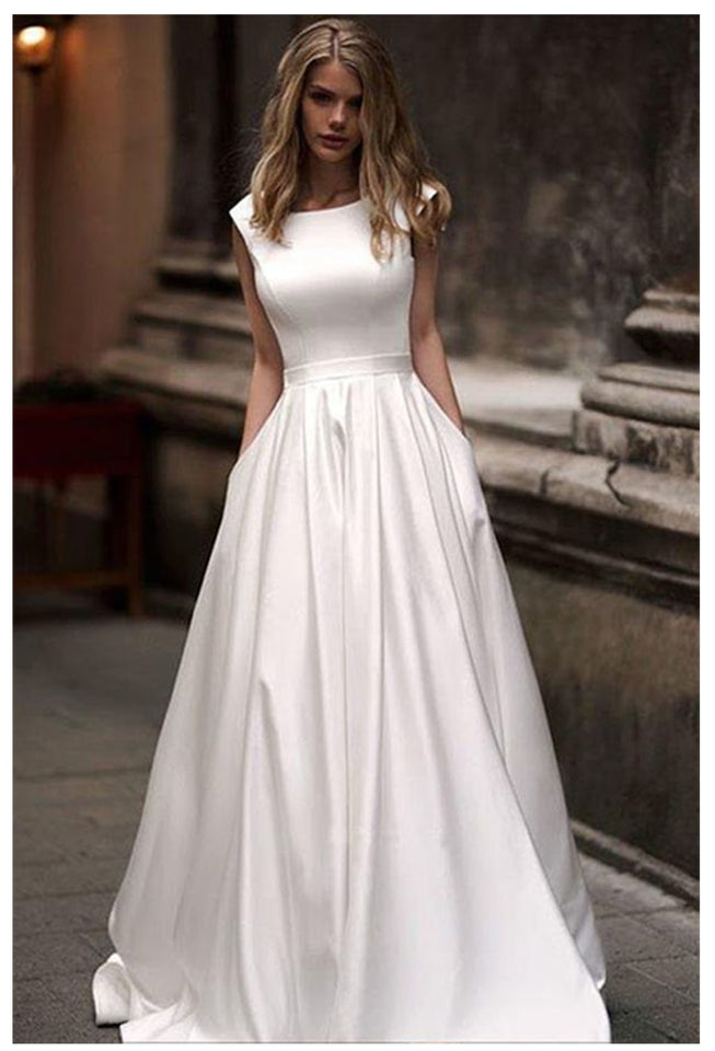 Lorie Wedding Dresses With Pocket 2019 Vestido de novia Satin White Sleeveless Bridal Gowns Floor Length Wedding Gown - Products & Products Store