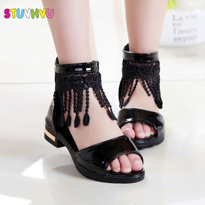 Summer Roman Sandals for Girls Shoes Tassel Lace Kids Sandals New Fish Mouth Princess Shoes Black White Pink Size 27-36 Fashion - Products & Products Store