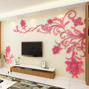 Acrylic wall stickers Wonderful TV Background Decoration Flowers Acrylic Wall Sticker Best Home Decor living room decoration - Products & Products Store