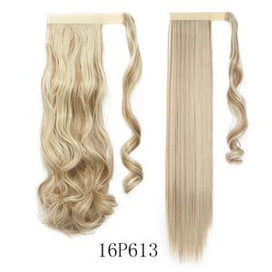 SNOILITE 17''23'' Long wavy Clip In Hair Tail False Hair Ponytail Hairpiece With Hairpins Synthetic Hair PonyTail Hair Extension - Products & Products Store