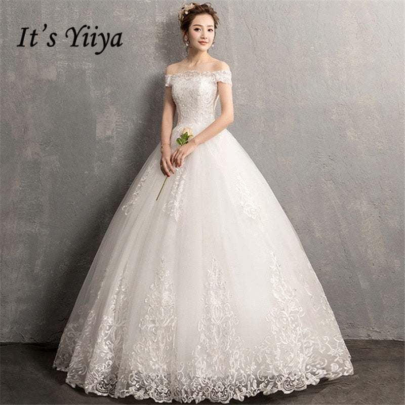 YiiYa Wedding Dresses 2019 Simple Boat Neck Embroidery Lace Up Floor-length Elegant Bridal Gowns De Novia Casamento AL012 - Products & Products Store