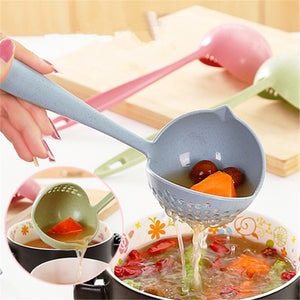2 In 1 Long Handle Soup Spoon Home Strainer Cooking Colander Kitchen Scoop Plastic Ladle Tableware Sifter - Products & Products Store