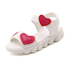Kids Sandals for Girls 2019 Summer Children Open Toe Shoes Love Heart Girls Casual Sandals Pink White Color - Products & Products Store