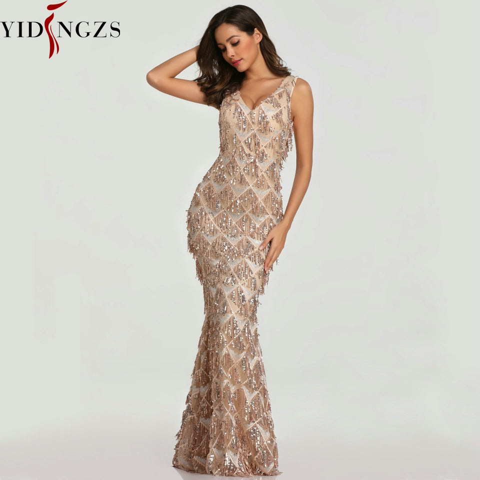 YIDINGZS  Sexy V-neck Tassel Sequin Sleeveless Evening Dress Women Elegant Long Evening Party Dress - Products & Products Store