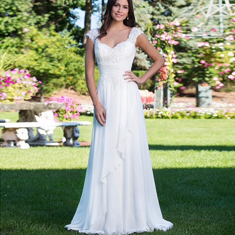 Simple V-neck Beads Lace Vestidos De Novia Backless Pleats Chiffon A-Line Beach Long Wedding Dresses Robe Marriage Bridal Gowns - Products & Products Store