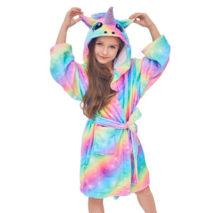 Children Unicorn Flannel Autumn Winter Rainbow Bathrobes Kids Girls Pajamas Unicorn Night gown Hooded Kids Sleepwear Night gown - Products & Products Store