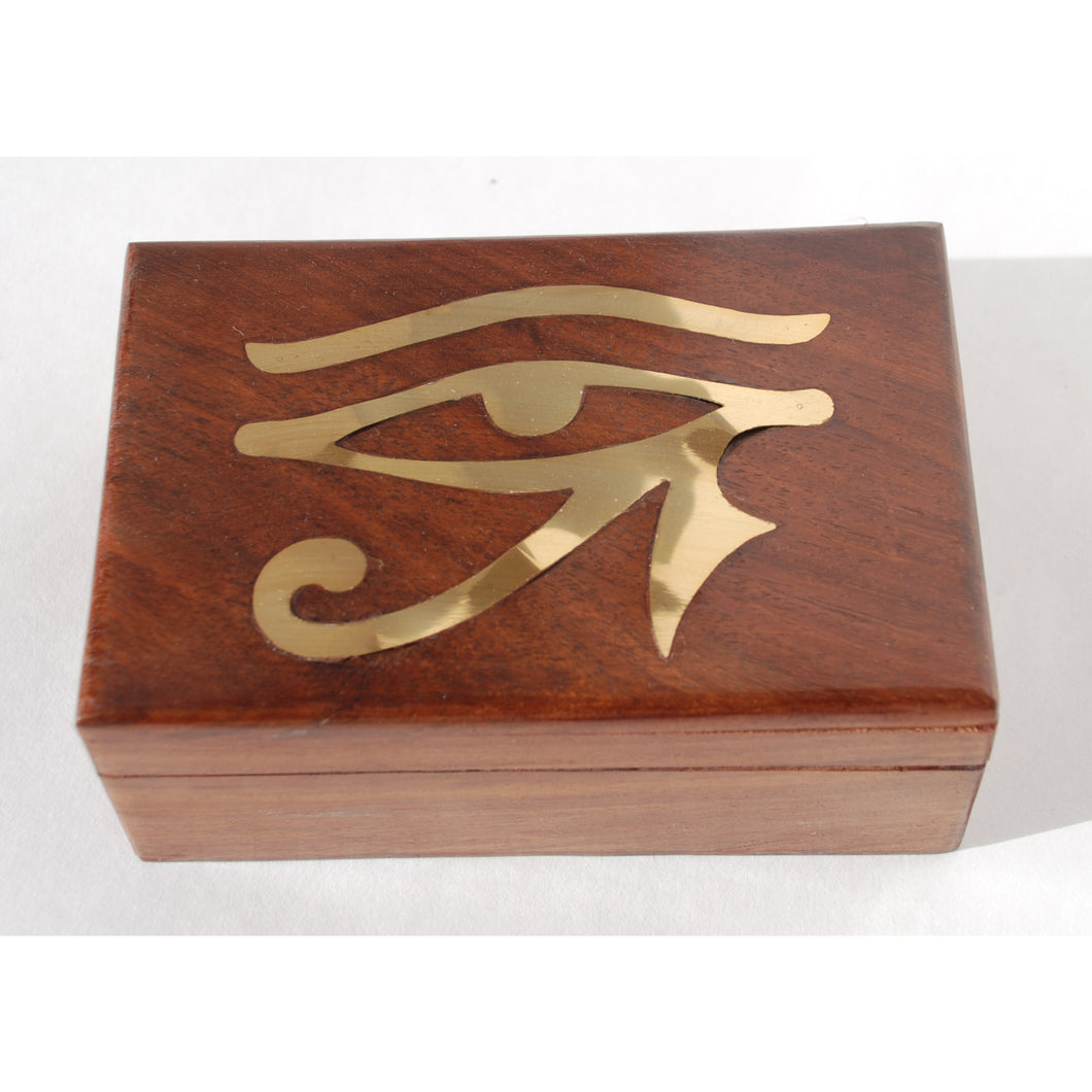Rosewood Box with Eye of Horus Brass Inlay - Large