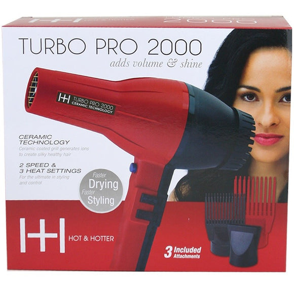 HOT & HOTTER TURBO PRO 2000 HAIR DRYER # 5839 - Palms Fashion Inc.