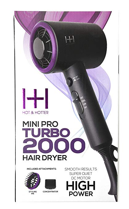 Hot and Hotter Professional Portable Mini Pro Turbo 2000 Hair Dryer - Palms Fashion Inc.
