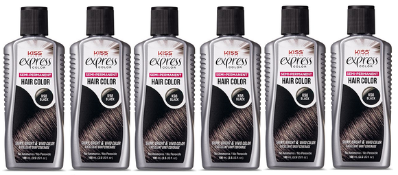 Kiss Express Color Rinse  black Semi Permanent - 6 Pack - Palms Fashion Inc.