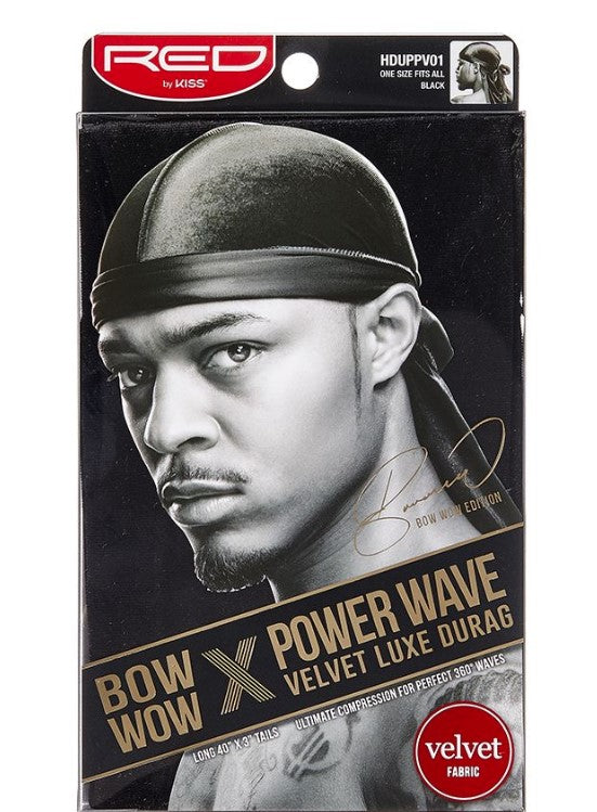 Red by Kiss Power Wave Velvet Luxe Durag - HDUPPV01 Black - Palms Fashion Inc.