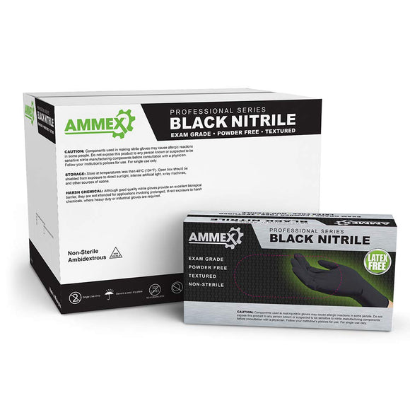 AMMEX Black Nitrile Textured Powder Free Glove - LARGE - Palms Fashion Inc.