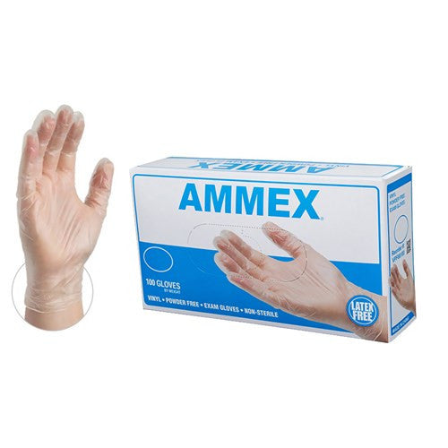 AMMEX Clear Vinyl Exam Latex Free Disposable Gloves - SMALL & MEDIUM - Palms Fashion Inc.