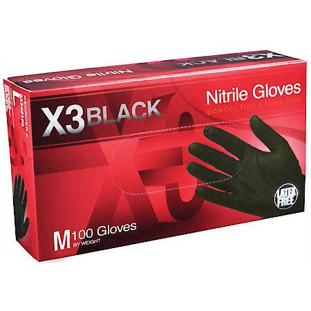AMMEX X3 Black Nitrile Gloves - MEDIUM