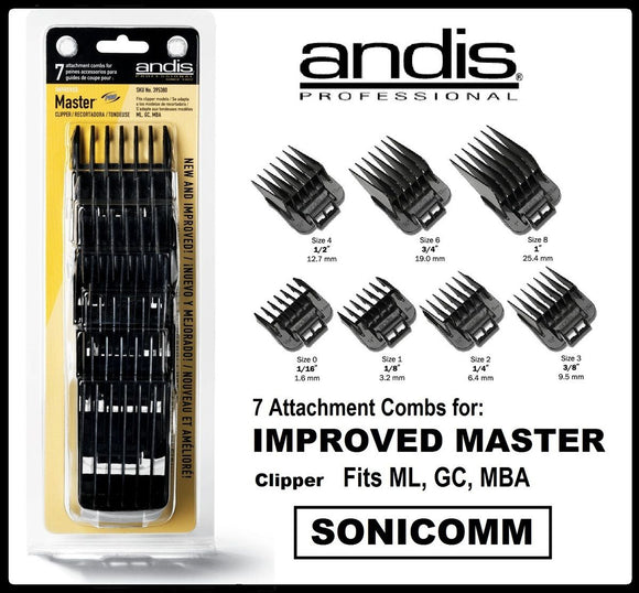 Andis Clipper Attachment Combs 7pc set #01380 - Palms Fashion Inc.