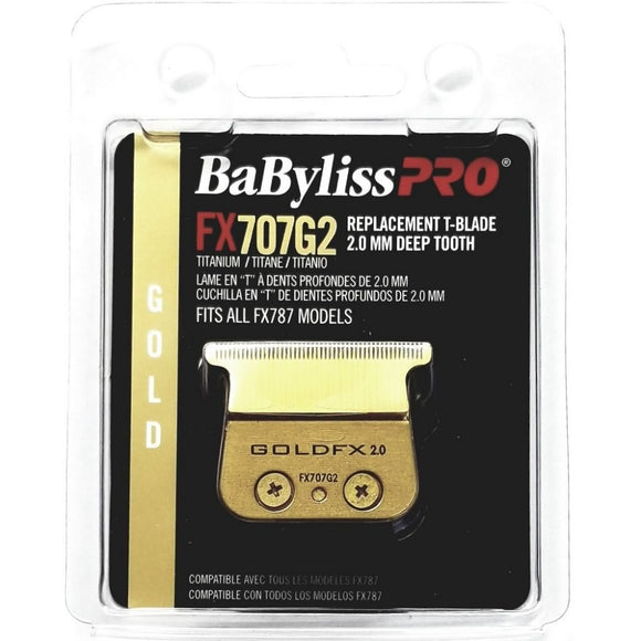 BaByliss Pro Gold Titanium 2.0 mm Deep Tooth Replacement T-Blade Fits All FX787 Models # FX707G2