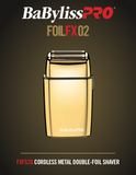 BabylissPro Gold FoilFX02 Cordless Metal Double Foil Shaver # FXFS2G (Dual Voltage) - Palms Fashion