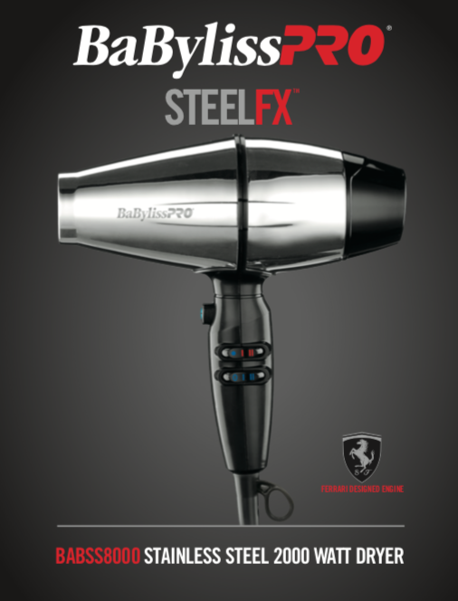 BaBylissPRO STEELFX Stainless Steel 2000-Watt Hair Dryer #BABSS8000 - Palms Fashion
