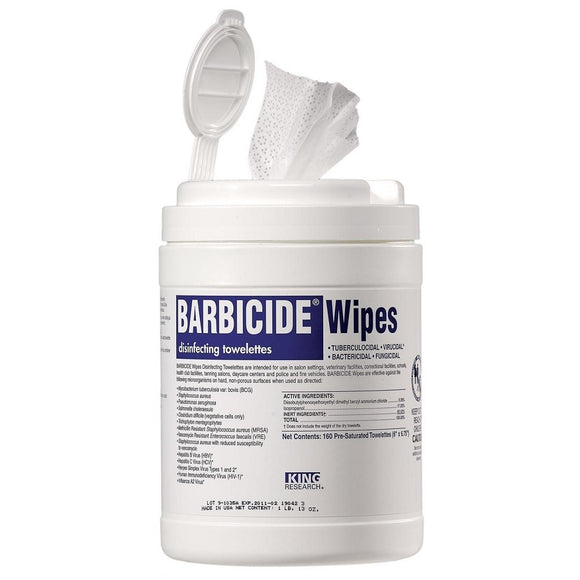 BARBICIDE WIPES DISINFECTING TOWELETTES 160 PRE-SATURATED TOWELETTES - (Restock March 25th) - Palms Fashion Inc.