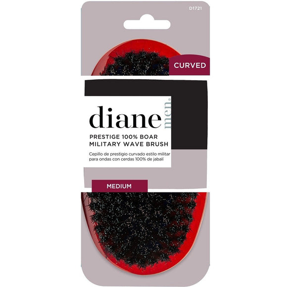 DIANE CURVED PRESTIGE 100% BOAR MILITARY WAVE BRUSH - RED / MEDIUM # D1721 - Palms Fashion Inc.