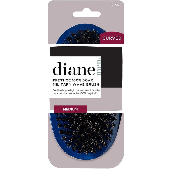 DIANE CURVED PRESTIGE 100% BOAR MILITARY WAVE BRUSH - BLUE / MEDIUM # D1722 - Palms Fashion Inc.