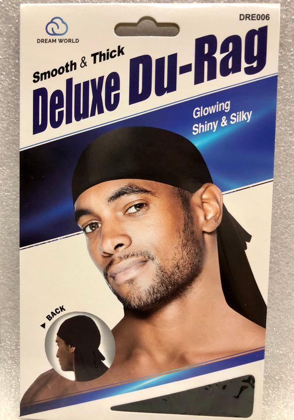 Dream Smooth and Thick Deluxe Du Rag Black #006 - Dozen Pack - Palms Fashion