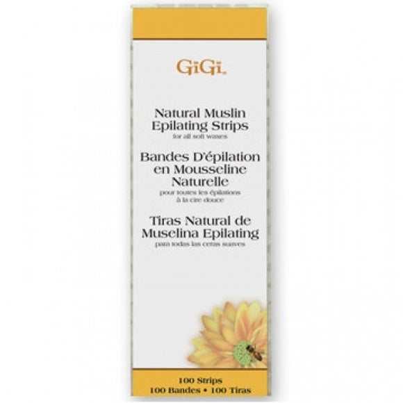 GIGI SMALL NATURAL MUSLIN EPILATING STRIPS - 100 PACK #0600 - Palms Fashion Inc.