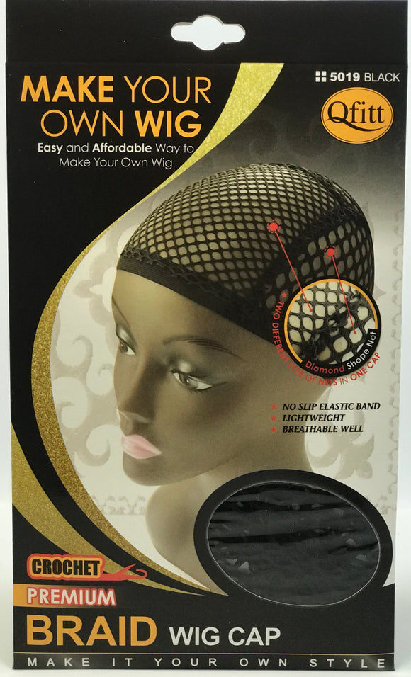 M&M Crochet Braid Wig Cap Black #5019 - Dozen - Palms Fashion