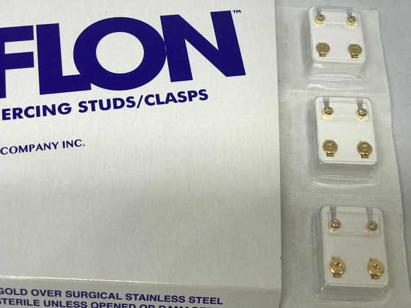 Caflon Ear Piercing Studs/Clasps Gold with stone